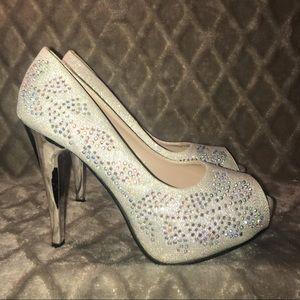 Stylo  Bling Glitter Rhinestone Peep Toe Heels